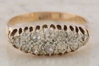 Vintage 18ct Rose Gold 2 Row Old Cut Diamond Ring Size S
