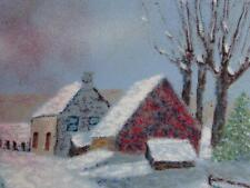 PAINTING ENAMEL ON COPPER ARTIST WALT LITT LARGE 12 BY 16 SNOW FARM SCENE