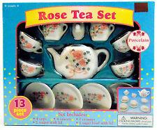 13 Piece Miniature Porcelain Classic Tea Party Set Pink Rose Collection Battat
