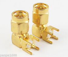 1pc Gold 50 Ohm SMA Male Right Angle R/A PCB Receptacle Solder RF Connector