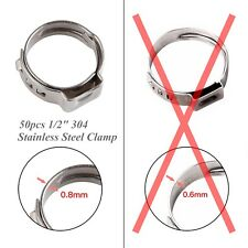 """50PCS 1/2"""" Stainless Ear PEX Clamp Cinch Ring Hose Crimp Pinch Fitting PEX 304"""