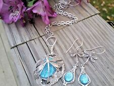 Aqua Blue Opal Necklace Dragonlfy Wrap Matching Dragonfly Drop Aqua Opal Earring