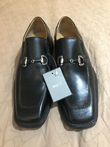 Apt 9 Townsend Loafers Bit Square Toe Mens Black Leather Slip On Shoes  9M NEW