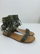 VALENTINO Fringe Ankle Cuff Sandal in Army Green Size 38 $1095