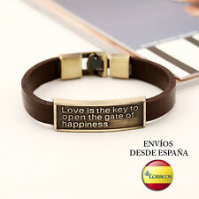 "Pulsera de cuero ""Love is the key to open the gate of hapiness"""