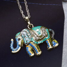 Retro Wild Animal Elephant Sweater Long Chain Necklace Jewelry Costume Pendant