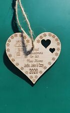 PERSONALISED FIRST CHRISTMAS IN NEW HOME HEART  2020  BAUBLE TREE WOOD