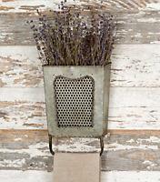 Galvanized Steel Vintage Dalton Wall Box with Towel Rack Galvanised Steel New