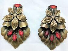 Rare Antique S. FRIEDMAN N.Y. Bronze Shoe Clips with Red Rhinestones