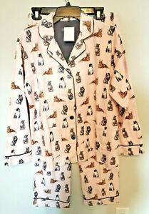 PJ Salvage Pink Flannel Cats Pajamas  Size Medium NWT