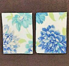 LL Bean Floral Pillowcases Blue Dahlia Set
