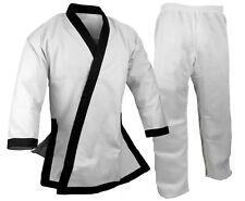 New Tang Soo Do Uniform Gi White w/ Black Trim 12 oz Heavy Weight with Cuffs