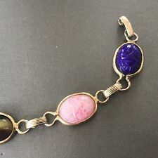 Vintage Egyptian Revival Inlaid Scarab Beetle Bracelet