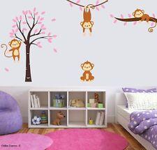 Pink Monkey Tree Jungle Nursery Wall Art Stickers Crib Cot Girl Children Bedroom
