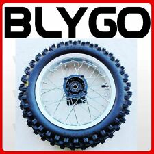 "SILVER 12mm Axle 3.00- 12"" Inch Rear Wheel Rim Knobby Tyre Tire PITPRO Dirt Bike"