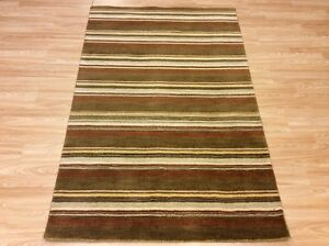 Handwoven 4'x6' Striped GREEN BROWN BEIGE Multi Color Wool Rug 122x185cm -60%OFF