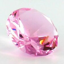 100mm Pink Crystal Diamond Paperweight Glass Gem Display Gift Ornament Boxed