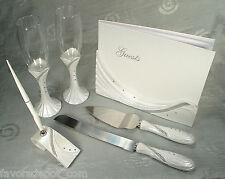 Guest book,Toasting flutes, Cake set and Pen set Drape bling design Wedding Set