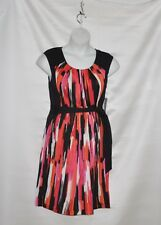 Styled by Joe Zee Watercolor Printed Dress Size 8 Black/Fuchsia