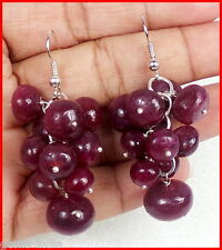 Gorgeous Natural 172+ Cts Red Ruby Earrings Grape Bunch Round Beds Silver Hook ~
