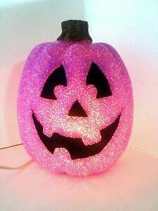 Vtg Seasons Melted Plastic Popcorn Jack-O-Lantern Light Up Pumpkin