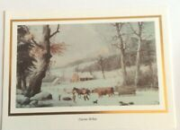 Vtg Currier & Ives Christmas Card: Winter In The Country; CLEO, Gibson; Gold Emb