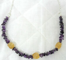"Amethyst + Citrine 14mm nuggets, 21"" necklace"