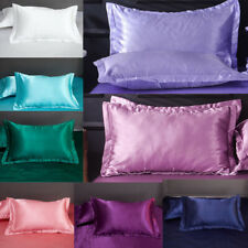 Silk Satin Standard Pillow Home Pillowcase Cover Cushion Case Decor Bed 1Pair
