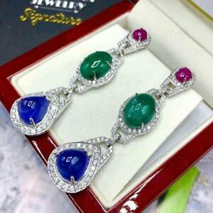 Huge 42.65CT Pink Ruby, Green Emerald, Blue Sapphire & White Fashion Earrings
