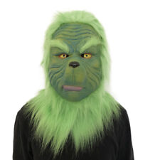 Cosplay Grinch Mask Melting Face Latex Costume Collectible Prop Scary Mask Toy H