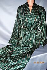 STUNNING Victorias Secret Silky Satin EMERALD & GOLD Long Robe Gold Label NWT S