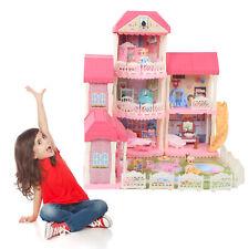 Puppenhaus Puppenvilla Spielhaus Barbiehaus Dollhouse+Zubehör Geschenk 4 Etagen