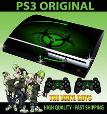 PLAYSTATION PS3 vecchia forma VERDE BIO HAZARD pericolo stile SKIN e 2 SKIN PER PAD