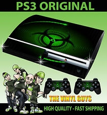 PLAYSTATION PS3 OLD SHAPE GREEN BIO HAZARD DANGER STYLE SKIN & 2 PAD SKINS
