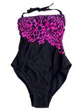 Black Cerise Pink Purple bandeau One Piece Swimming Bathing Suit Swimsuit Small