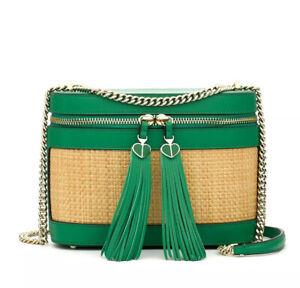 NWT$258⭐Kate Spade Rose Straw/ Leather Crossbody Bag Green Bean Binocular Picnic
