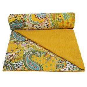 Indian Handmade Bedspread Bedding Throw Pure Cotton Quilt Comforter Quilted