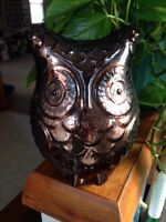 Brown Glass Decorative Owl Figure Large Home Decor