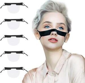 Mini Shield Black Face Mask Adjustable Visor Guard Transparent Washable Anti Fog