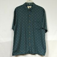 The Territory Ahead Men's Short Sleeve Button Front Shirt Size L Large Green