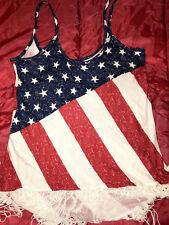 NAUGHTY SEXY WOMAN HALLOWEEN COSPLAY COSTUME SPAGHETTI SHIRT TOP USA FLAG