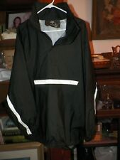 Nelson-Rigg PVC Black Rain Jacket Motorcycle Riding Coat Reflective Stripes XXL