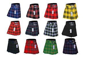 "Ladies, Girls Tartan Pleated Billie Kilt Skirt Leather Buckled Straps 16"" Drop"