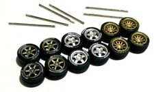 1/64 rubber tires rims - TE37 CE28 fit Kyosho Hot Wheels Tomica diecast - 3 sets