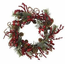 Nearly Natural 4838 Assorted Berry Wreath- 24-Inch- Red