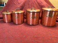 VINTAGE SET OF COPPER CANISTERS 8 pc Set Tea Coffee Sugar Flour Brass Handles