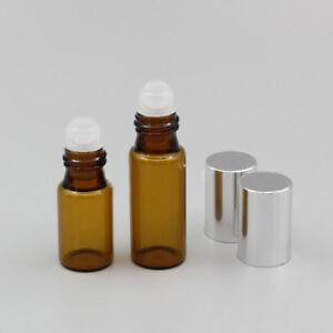 1ml 2ml 3ml 5ml 10ml Amber Glass Roll on Bottles Roller Ball  Essential Oil