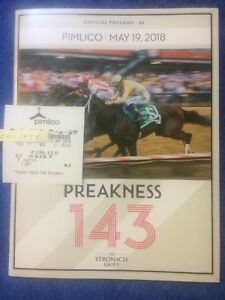 JUSTIFY $2 Preakness Win Ticket & Official Program from Pimlico 2018