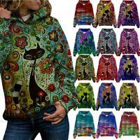 Hooded Hoodie Jumper Women's Sweater Coat Sleeve Long Tops Sweatshirt Pullover L