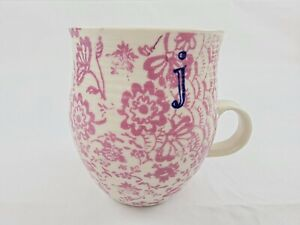 "Anthropologie Homegrown Letter ""j"" Monogram Initial Mauve Floral Coffee Cup Mug"